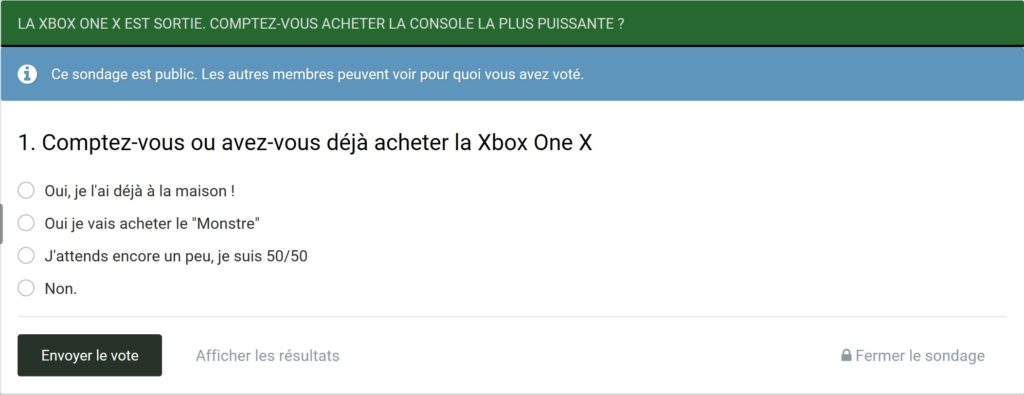 Sondage : Comptez-vous acheter la Xbox One X ?